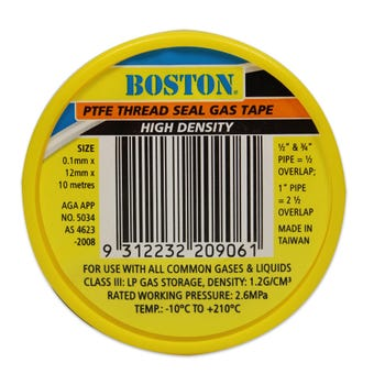 BOSTON PTFE Thread Seal Gas Tape 10m