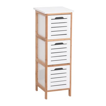3 Tier Bamboo & MDF Drawer Storage Unit