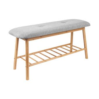 Bamboo Bench Seat with Shoe Rack and Cushion