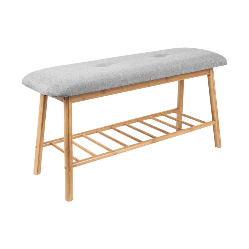 Bamboo Bench Seat with Shoe Rack & Cushion