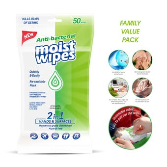 2 in 1 Hands and Surfaces Anti Bacterial Wet Wipes - 50 Pack