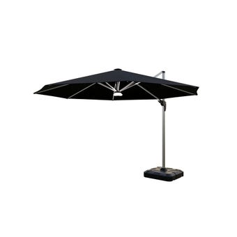 Coolaroo Brighton Solar LED Cantilever Umbrella Round Black 3.5m