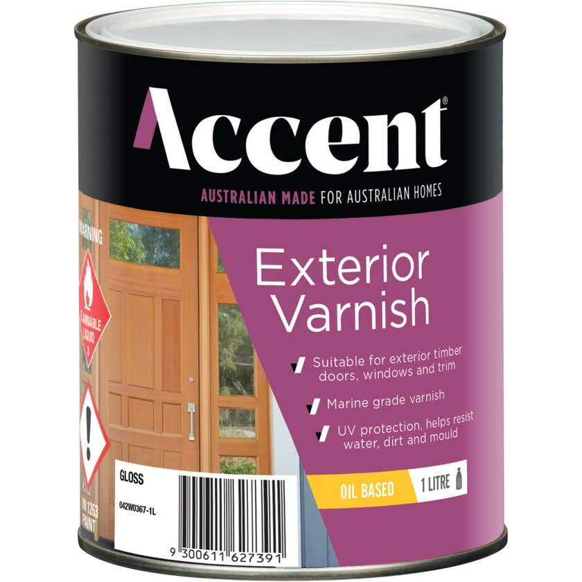 Accent Exterior Varnish Oil Based Gloss Clear 1L