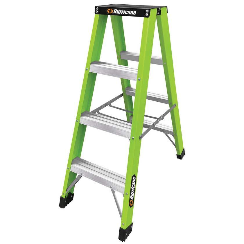 Hurricane Hi-Vis Fibreglass Double Sided Ladder 120kg Industrial 1.2m