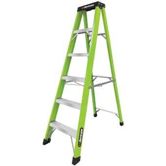 Hurricane Hi-Vis Fibreglass Single Sided Ladder 120kg Industrial 1.8m