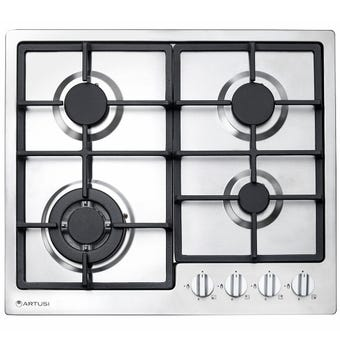 Artusi Gas Cooktop 4 Burner Cast Iron Trivets 600mm