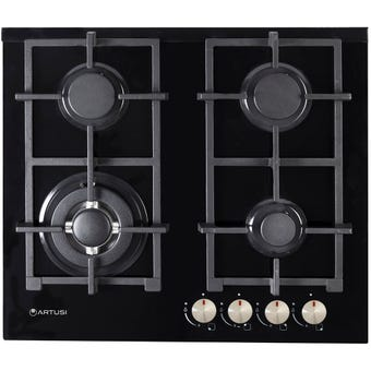 Artusi Gas Cooktop 4 Burner Black 600mm
