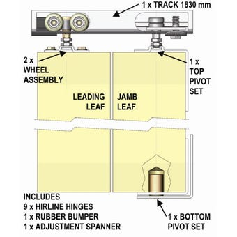 Cowdroy 1800mm Triumph Folding Door Track System