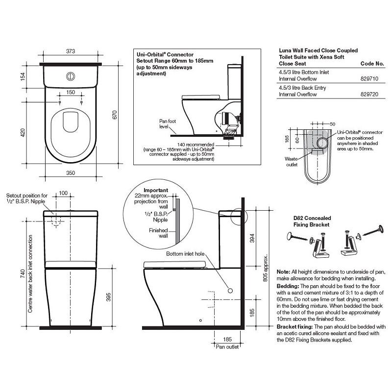 Caroma Luna Wall Faced Toilet Suite Bottom Inlet