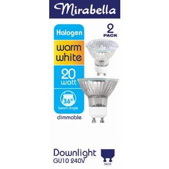 Mirabella Day Light Gu10 Halogen 240v 20w W/w 38d Pack of 2