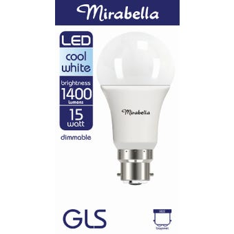 Mirabella LED Globe GLS 15w Dimmable BC Cool White Pearl