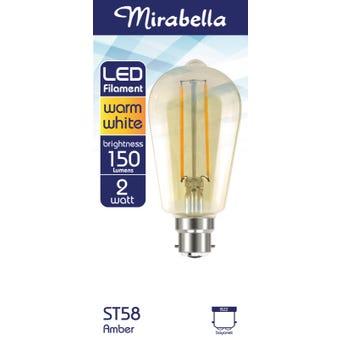 Mirabella LED Globe Filament Tub St58 2W BC Amber