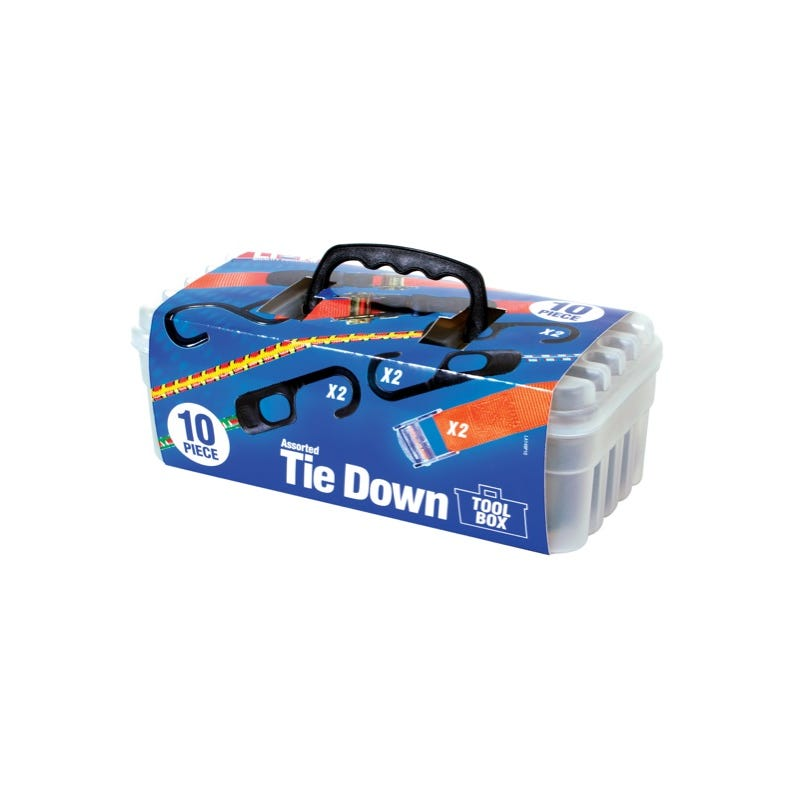Lion Assorted Tie Down Tool Box - 10 Piece