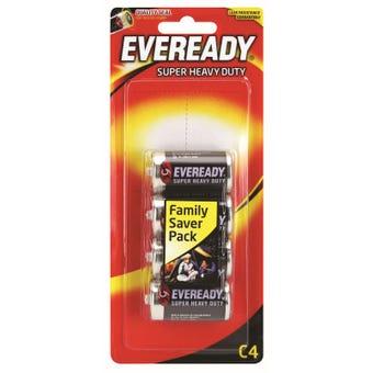 Eveready Super Heavy Duty Battery C - 4 Pack