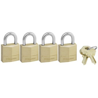 Master Lock Brass Padlock 20mm - 4 Pack