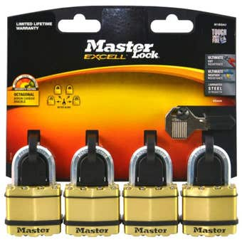 Master Lock Excell Laminated Padlock 45mm - 4 Pack