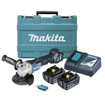 "Makita 18V Brushless Angle Grinder Kit 125mm (5"") DGA518RTEU"