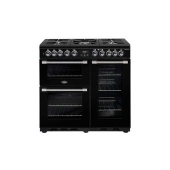 Belling Freestanding Dual Fuel Range Cooker Black 900mm
