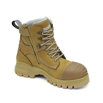Blundstone Women's Water-Resistant Leather Zip Side Safety Boot Wheat 892