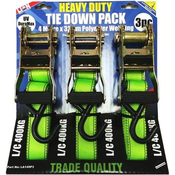 Lion 3Pk Heavy Duty Ratchet Tie Down Set