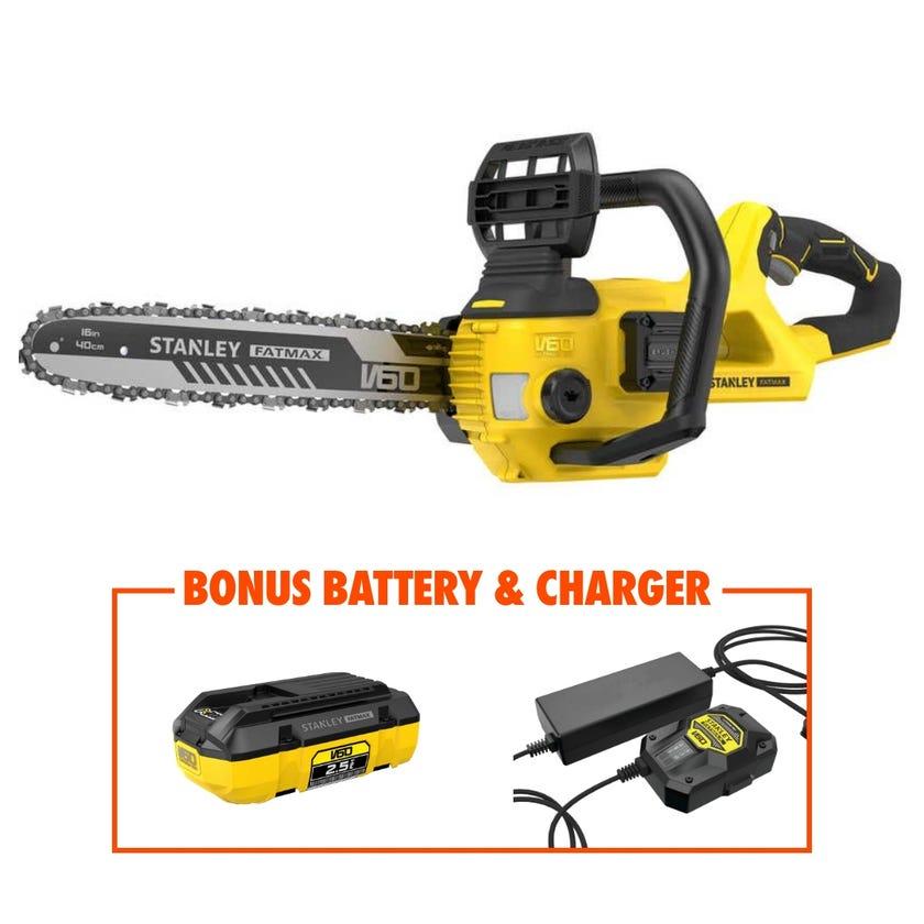 Stanley FatMax V60 54V Brushless Chainsaw Skin with BONUS Battery & Charger