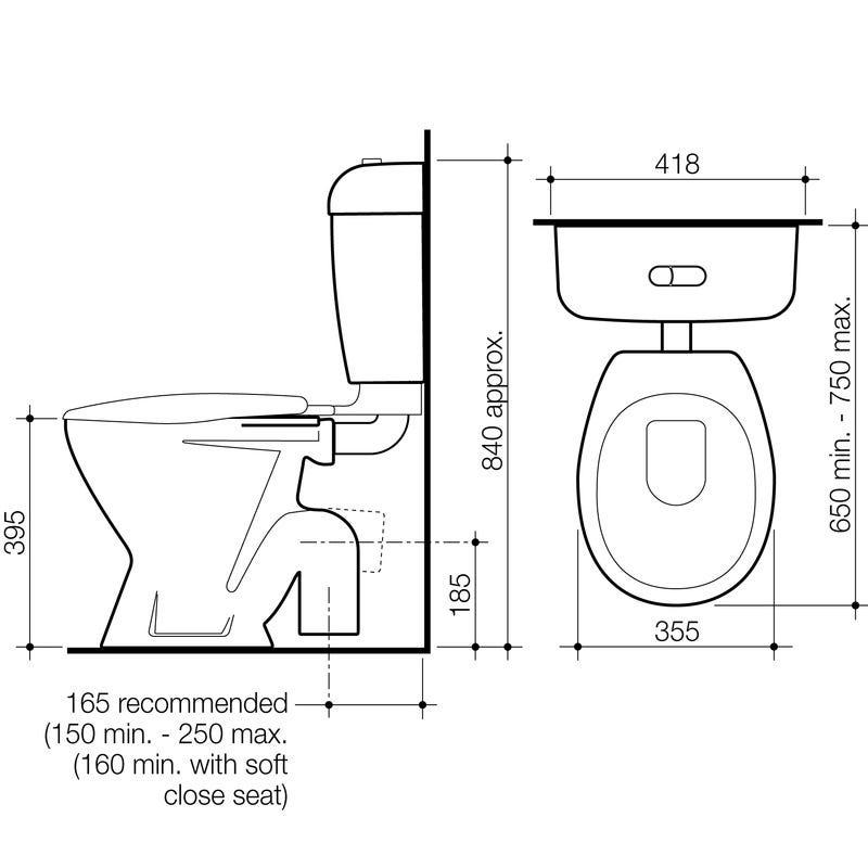 Stylus Tasman Connector Toilet Suite S Trap