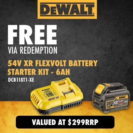 Free DeWalt 54V XR Flexvolt Battery Starter Kit