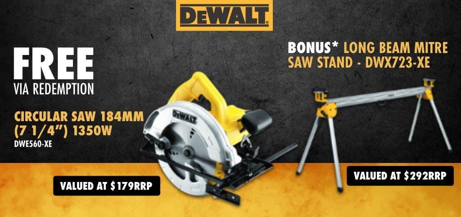 Free via redemption DeWalt 1350W Circular saw 184mm with Bonus Saw Stand
