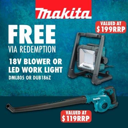 Free via redemption Makita LXT 18V Blower or LED work light