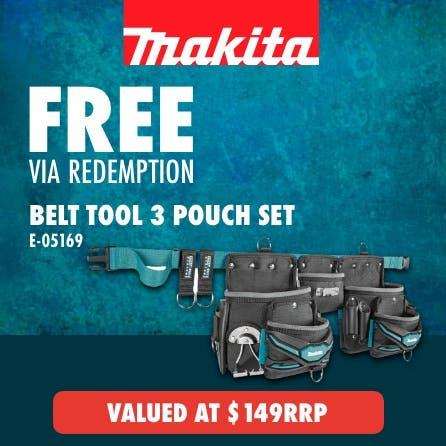 Free via redemption Makita 3 Pouch Tool belt set