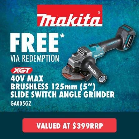 Free Makita 40V Max Brushless 125mm Paddle Switch Angle Grinder