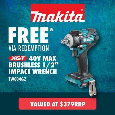 "Free Makita 40V Max Brushless 1/2"" Impact Wrench"