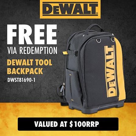 Free via redemption DeWalt Tool backpack