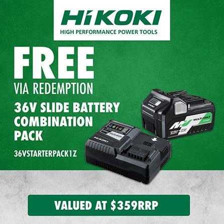 Free via redemption Hikoki 36V Slide Battery Combination Pack