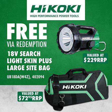 Free via redemption Hikoki 18V Search Light Skin Plus Large Site Bag
