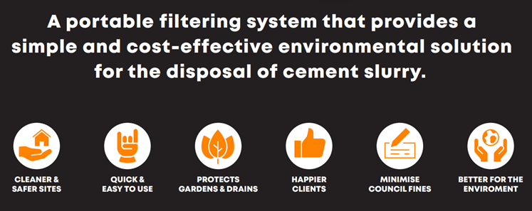 A portable filtering system that provides a simple and cost-effective environmental solution for the disposal of cement slurry.